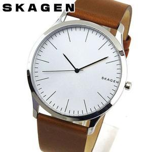 SKAGEN スカーゲン ジョーン メンズ 腕時計 茶 ブラウン 銀 シルバー 革バンド レザー SKW6331 海外モデル 誕生日プレゼント ギフト|tokeiten