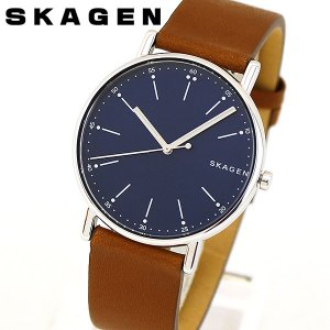 SKAGEN スカーゲン SKW6355 SIGNATUR シグネチャー メンズ 腕時計 海外モデル 青 ネイビー 茶 ブラウン 革ベルト レザー|tokeiten