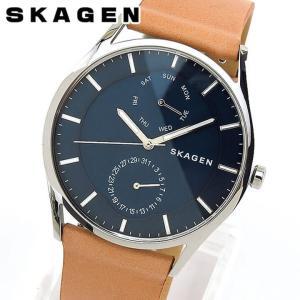 SKAGEN スカーゲン SKW6369 アナログ メンズ 腕時計 海外モデル 青 ネイビー 茶 ブラウン 革ベルト レザー カジュアル ビジネス スーツ|tokeiten