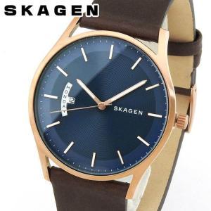 SKAGEN スカーゲン メンズ 腕時計 ブルー 青 ブラウン 茶色 レザー アナログ SKW6395 海外モデル ギフト|tokeiten
