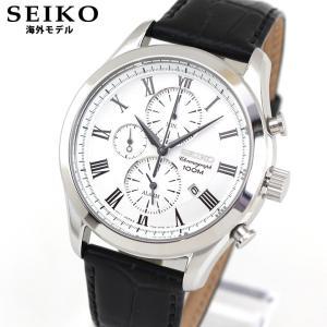 SEIKO セイコー SNAF69P1 海外モデル アナログ メンズ 腕時計 ウォッチ 黒 ブラック 白 ホワイト 革バンド レザー tokeiten