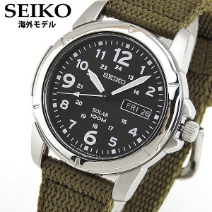 SEIKO セイコー ソーラー SNE095P2 海外モデル メンズ 腕時計 ウォッチ 黒 ブラック カーキ ナイロン バンド カジュアル|tokeiten