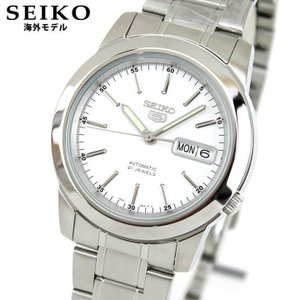 SEIKO セイコー5 逆輸入 海外モデル SNKE49K1 メンズ 腕時計 メタル バンド 機械式 メカニカル 自動巻き ホワイト シルバー|tokeiten