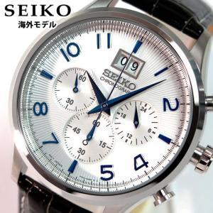 SEIKO セイコー クロノグラフ メンズ 腕時計 ブラック×ホワイト SPC155P1 海外モデル|tokeiten
