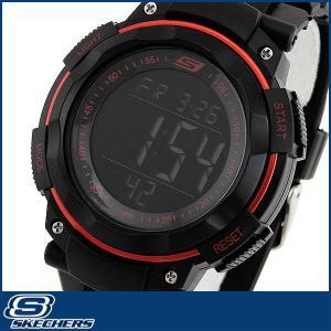 Skechers スケッチャーズ SR1022 海外モデル メンズ 男性用 腕時計 ウォッチ 多機能 黒 ブラック 赤 レッド|tokeiten