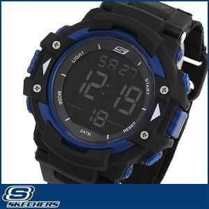 SKECHERS スケッチャーズ SR1035 海外モデル メンズ 男性用 腕時計 ウォッチ ナイロン バンド クオーツ デジタル 黒 ブラック 青 ブルー|tokeiten