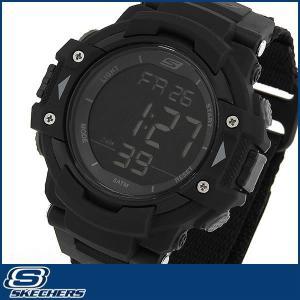 SKECHERS スケッチャーズ クオーツ SR1037 海外モデル デジタル メンズ 男性用 腕時計 ウォッチ 黒 ブラック ナイロン バンド|tokeiten