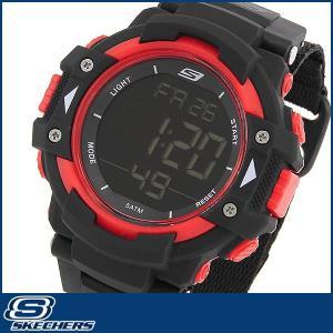 SKECHERS スケッチャーズ クオーツ SR1038 海外モデル デジタル メンズ 男性用 腕時計 ウォッチ 黒 ブラック 赤 レッド ナイロン バンド|tokeiten