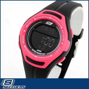 Skechers スケッチャーズ クオーツ SR2010 海外モデル デジタル レディース 女性用 腕時計 黒 ブラック ピンク ウレタン ランニング スポーツ|tokeiten