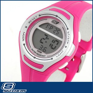 Skechers スケッチャーズ SR2013 海外モデル レディース 女性用 腕時計 ウレタン ランニング スポーツ デジタル ピンク シルバー|tokeiten