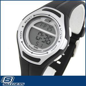 Skechers スケッチャーズ SR2014 海外モデル レディース 女性用 腕時計 ウレタン ランニング スポーツ デジタル ブラック シルバー|tokeiten