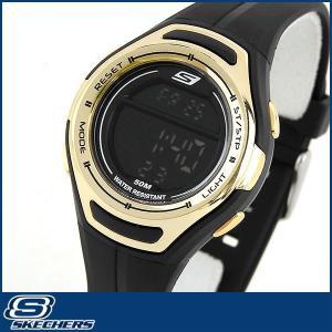 Skechers スケッチャーズ SR2015 海外モデル レディース 女性用 腕時計 ウォッチ ウレタン バンド ランニング スポーツ デジタル ブラック ゴールド|tokeiten