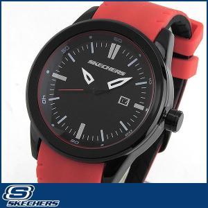 スケッチャーズ SKECHERS SR5005 海外モデル メンズ 男性用 腕時計 ウォッチ シリコン ラバー バンド クオーツ アナログ 黒 ブラック 赤 レッド|tokeiten