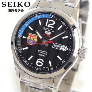 SEIKO セイコー ファイブ SEIKO 5 スポーツ 機械式 メカニカル 自動巻き SRP301K1 海外モデル FCバルセロナ メンズ 腕時計 ウォッチ 黒 ブラック メタル バンド|tokeiten