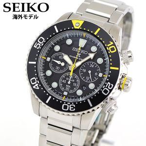 SEIKO セイコー 海外モデル ソーラー クロノグラフ カレンダー SSC613P1 PROSPEX プロスペックス アナログ 黒 ブラック 黄色 イエロー 銀 シルバー メタル|tokeiten