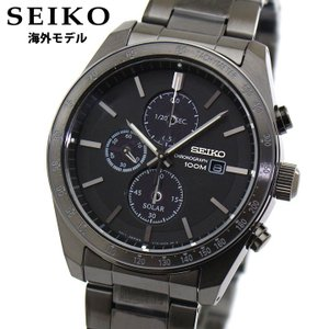 逆輸入 海外モデル SEIKO セイコー ソーラー クロノグラフ SSC721P1 アナログ メンズ 腕時計 黒 ブラック メタル|tokeiten