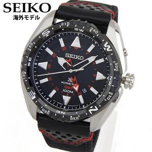 PROSPEX SEIKO SPORTURA スポーチュラ キネティック GMT アナログ メンズ 腕時計 黒 ブラック 赤 レッド 革ベルト レザー SUN049P2 海外モデル|tokeiten