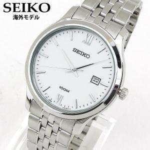 SEIKO セイコー SUR217P1 海外モデル ネオクラシック NEO CLASSIC アナログ メンズ 腕時計 ウォッチ 白 ホワイト 銀 シルバー メタル バンド|tokeiten