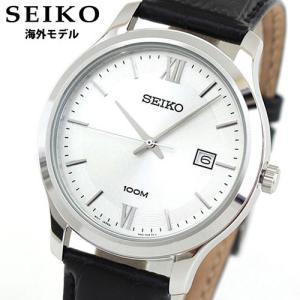 SEIKO セイコー 逆輸入 海外モデル SUR225P1 海外モデル CLASSIC クラシック アナログ メンズ 腕時計 ウォッチ 黒 ブラック 銀 シルバー 革バンド レザー tokeiten