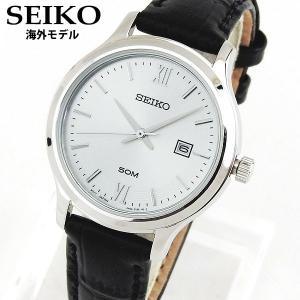 SEIKO セイコー SUR703P1 海外モデル 逆輸入 クラシック アナログ レディース 腕時計 ウォッチ 黒 ブラック 銀 シルバー 革バンド レザー|tokeiten