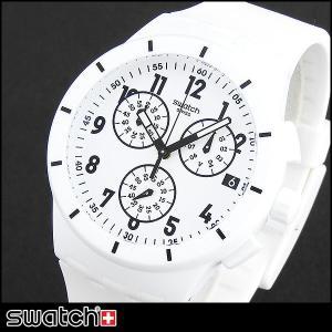 Swatch スウォッチ クロノグラフ SUSW402 海外モデル アナログ メンズ 腕時計 白 ホワイト シリコン ラバー バンド|tokeiten