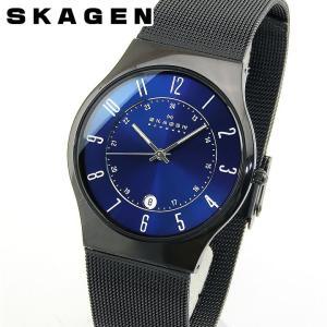 SKAGEN スカーゲン GRENEN グレーネン T233XLTMN メンズ 腕時計 メタル 黒 ブラック ブルー 青 誕生日プレゼント 男性 ギフト 海外モデル|tokeiten