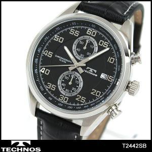 TECHNOS テクノス クロノグラフ T2442SB 海外モデル アナログ メンズ 腕時計 ウォッチ 黒 ブラック 革バンド レザー|tokeiten