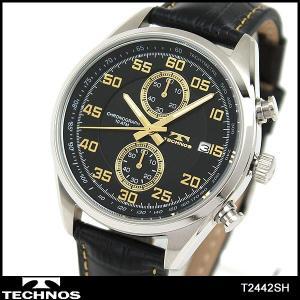 TECHNOS テクノス クロノグラフ T2442SH 海外モデル アナログ メンズ 腕時計 ウォッチ 黒 ブラック 金 ゴールド 革バンド レザー|tokeiten