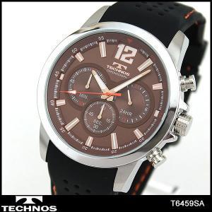 TECHNOS テクノス クオーツ クロノグラフ T6459SA 海外モデル アナログ メンズ 腕時計 ウォッチ 黒 ブラック 茶 ブラウン シリコン ラバー バンド|tokeiten