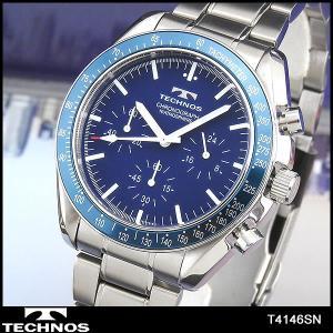 ポイント最大26倍 TECHNOS テクノス T4146SN 海外モデル メンズ 腕時計 青 ブルー シルバー|tokeiten