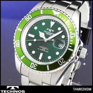 TECHNOS テクノス TAM629SM 海外モデル メンズ 腕時計 メタル バンド アナログ 緑 グリーン 銀 シルバー tokeiten