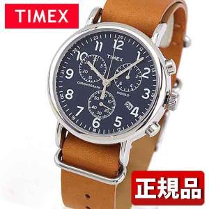 TIMEX タイメックス クロノグラフ TW2P62300 国内正規品 Weekender Chrono アナログ メンズ 腕時計 ウォッチ 青 ネイビー 茶 ブラウン 革バンド レザー|tokeiten