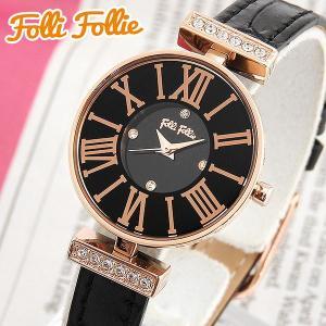 Folli Follie フォリフォリ WF13B014SSK-BK 海外モデル アナログ レディース 腕時計 ウォッチ ブラック ピンクゴールド 革バンド レザー|tokeiten