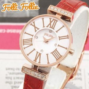 Folli Follie フォリフォリ WF13B014SSW-RE 海外モデル アナログ レディース 腕時計 ウォッチ レッド ホワイト ピンクゴールド 革バンド レザー|tokeiten