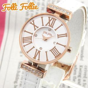 Folli Follie フォリフォリ WF13B014SSW-WH 海外モデル アナログ レディース 腕時計 ウォッチ 白 ホワイト 金 ピンクゴールド 革バンド レザー|tokeiten