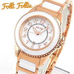 Folli Follie フォリフォリ クオーツ WF1R001BDW-XX 海外モデル アナログ レディース 腕時計 ウォッチ 白 ホワイト 金 ピンクゴールド セラミック バンド|tokeiten
