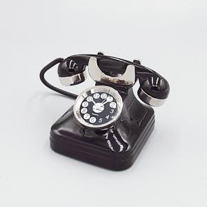 ミニチュアクロック C3185-BK  古い電話機型メタル製クロック|tokeiya-ito