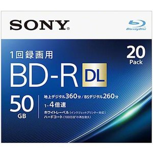 ソニー 20BNR2VJPS4 録画・録音用 BD-R DL 50GB 一回(追記)録画 プリンタブル 4倍速 20枚|tokka