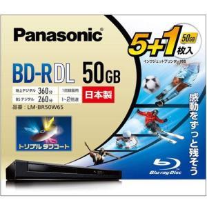 パナソニック LM-BR50W6S 録画・録音用 BD-R 25GB 一回(追記)録画 プリンタブル 2倍速 5+1枚|tokka