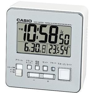 CASIO DQD-805J-8JF(シルバー) 電波目覚まし時計 温湿度計付き|tokka