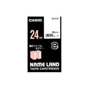 CASIO XR-24X ネームランド 透明テープ 黒文字 24mm