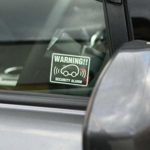 お得な3枚セット車用 セキュリティ ステッカー warning 可愛い コンパクトカータイプカーセキュリティー ダミー 耐水 防水 car security|toko-m