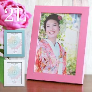 2L判サイズ フォトフレーム 写真立て アルバム 写真フレーム 壁掛け ピンク ホワイト ブルー 誕生日 プレゼント ラッピング 額縁 フォトスタンド|toko-m