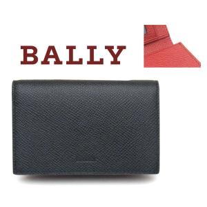 バリー BALLY 名刺入れ ブラックxレッド BALEE.B 216|toko-putih