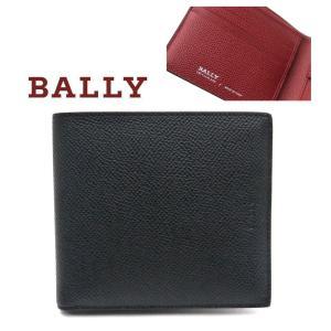 バリー BALLY 財布 二つ折り小銭入れ付き ブラックxレッド BYIE.B 216|toko-putih