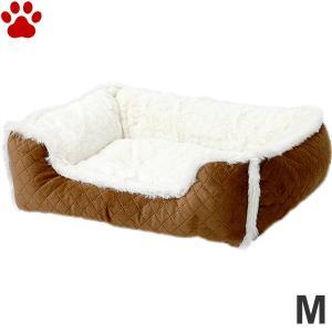 スクエアベッド キルト×ボア M 55×45×15cm ブラウン ペットベッド 角型 かわいい シンプル ふわふわ 茶 SB-87 大阪杉本|tokoton-dogfood