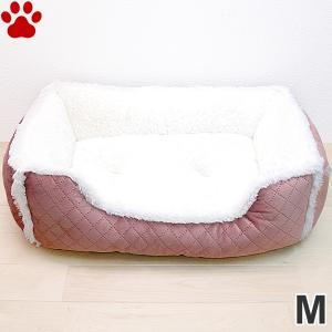 スクエアベッド キルト×ボア M 55×45×15cm ローズ ペットベッド 角型 かわいい シンプル ふわふわ ピンク SB-87 大阪杉本|tokoton-dogfood