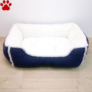 スクエアベッド ケーブル編み風 55×45×18cm ネイビー ペットベッド 角型 かわいい シンプル ふわふわ 紺 SB-88 大阪杉本|tokoton-dogfood