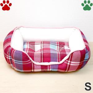 モチモチ スクエアベッド チェック柄 S 45×35×15cm レッド ペットベッド 角型 かわいい ふわふわ 赤 SB-90 大阪杉本|tokoton-dogfood