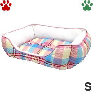 モチモチ スクエアベッド チェック柄 S 45×35×15cm ピンク ペットベッド 角型 かわいい もちもち ふわふわ SB-90 大阪杉本|tokoton-dogfood